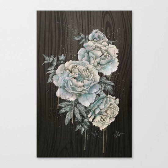 Peony Wood Canvas Print