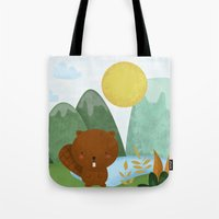 beaver Tote Bags featuring little beaver by Proyecto Melón