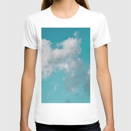 Floating cotton candy with blue green T-shirt