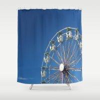 ferris wheel Shower Curtains featuring Ferris Wheel by Jessica Lindstrom