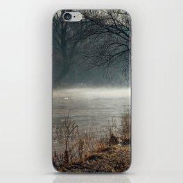 Morning fog, river and sunrise iPhone Skin