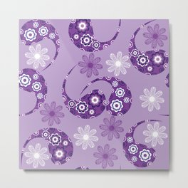 Lilac gentle modern Paisley  Metal Print