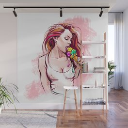 Sweet girl with sweet nipples Wall Mural