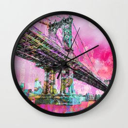 New York City Manhattan Bridge Red Wall Clock