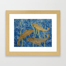 Gold Painted Paper Mosaic Fish Framed Art Print