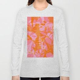 Tropical Jungle Pattern - Orange & pink Long Sleeve T-shirt