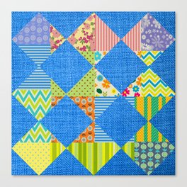 Jean and colorful patchwork print Canvas Print