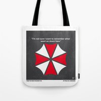 resident evil Tote Bags featuring No119 My RESIDENT EVIL minimal movie poster by Chungkong