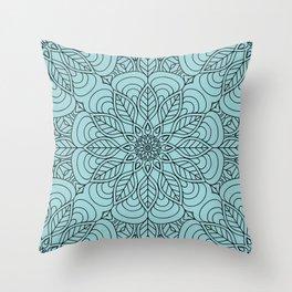 Black Flower Mandala 2 Throw Pillow
