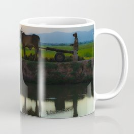 Cambodia, life on the rice field with loyalty cow in Cambodia Coffee Mug