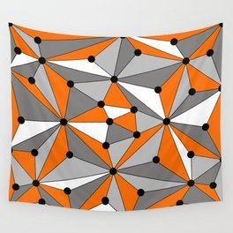 Abstract geometric pattern - orange, gray, black and white. Wall Tapestry