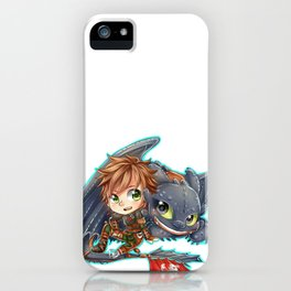 Httyd 2 - Chibi Hiccup and Toothless iPhone Case