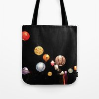 greg guillemin Tote Bags featuring Lanterns - Greg Katz by Artlala for MSF Doctors Without Borders