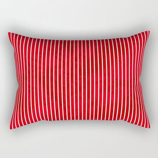 Red grunge stripes on white background Rectangular Pillow