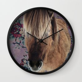 floral Icelandic pony Wall Clock
