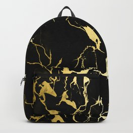Avant-Garde Gold Strike Veins On Black Marble Backpack