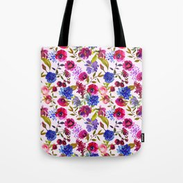Scattered Bright Pink, Purple and Lavender Floral Arrangement with Feathers on Soft Lilac Tote Bag