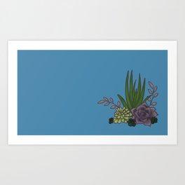 Succulents Blue Art Print