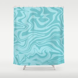 Abstract Modern Melting Ocean, Liquid Sea Waves Swirl, Marbled Pattern in Light Pastel Aqua Blue Shower Curtain