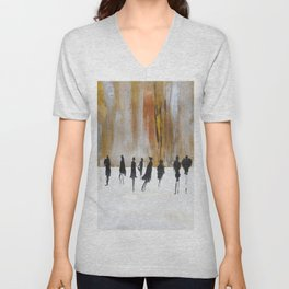 Faceless abstract, black silhouettes, fashion Unisex V-Neck