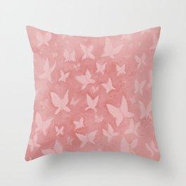 Blushing Butterflies Throw Pillow