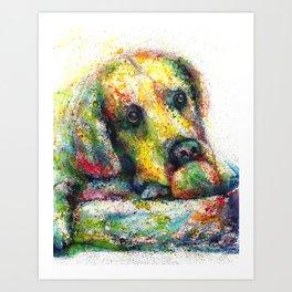Bulldog watercolour print Art Print