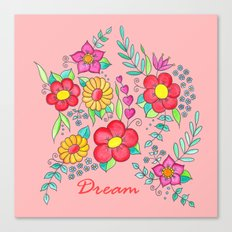 Dream - Bright flowers on pink Canvas Print