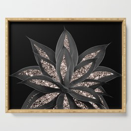 Gray Black Agave with Rose Gold Glitter #1 #shiny #tropical #decor #art #society6 Serving Tray