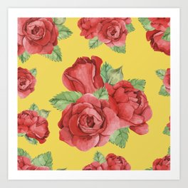 Colorful Vintage Watercolor Red Rose Art Print