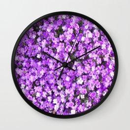 Pretty Purple Flowers, Purple Ground Cover, Beautiful Flowers Wall Clock