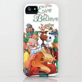 Santa checking his list with elves iPhone Case