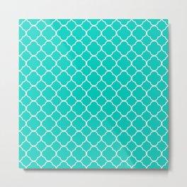 Aqua Blue Quatrefoil Clover Pattern Metal Print