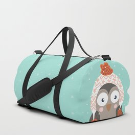 Owl Under Snow in the Christmas Time. Duffle Bag