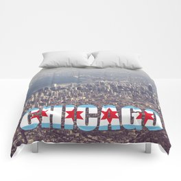 Chicago City Flag Architecture Downtown Color Text Font Type Photography Comforters