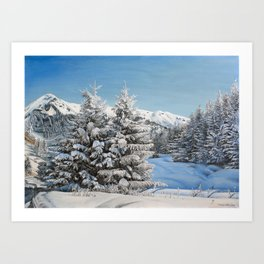 "Oil painting ""Winter in mountains"" Art Print"