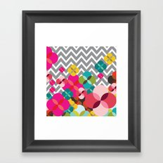 Chevron Blooms Framed Art Print