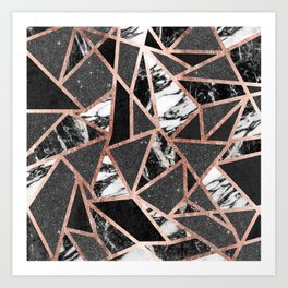 Modern Rose Gold Glitter Marble Geometric Triangle Art Print