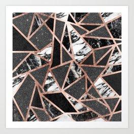 Modern Rose Gold Glitter Marble Geometric Triangle Art Print