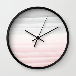 Touching Blush Gray Watercolor Abstract Stripe #1 #painting #decor #art #society6 Wall Clock