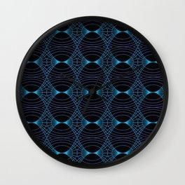 Undulating Spiderweb - Aqua on Black Wall Clock