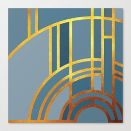 Art Deco Morning Sun In Dusk Blue Canvas Print