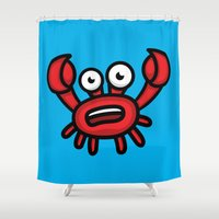 luigi Shower Curtains featuring Crab Luigi by leondesigns