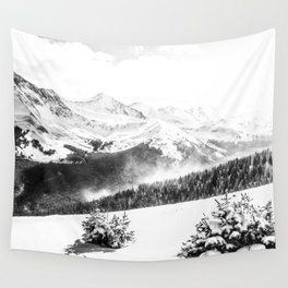 Fresh Snow Dust // Black and White Powder Day on the Mountain Wall Tapestry