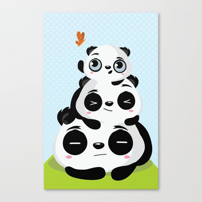 Panda family Canvas Print