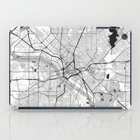 dallas iPad Cases featuring Dallas Map Gray by City Art Posters
