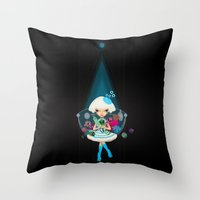 monster hunter Throw Pillows featuring hunter by Anne  Martwijit