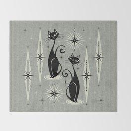 Mid Century Meow Retro Atomic Cats - Gray Throw Blanket
