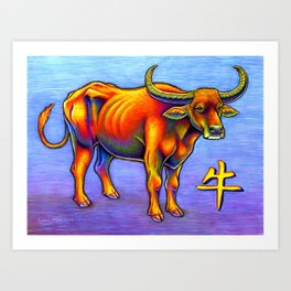 Chinese Zodiac Year of the Ox Colorful Bull Art Print
