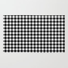 Gingham Black and White Pattern Rug