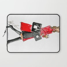 Walking Out of 5th Avenue Fashion Illustation by Elaine Biss Laptop Sleeve